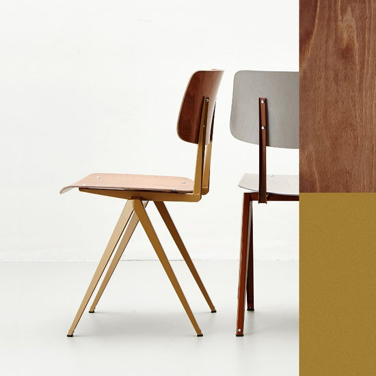 STEEL  S16 Chair  Pearl Gold -  Light Brown